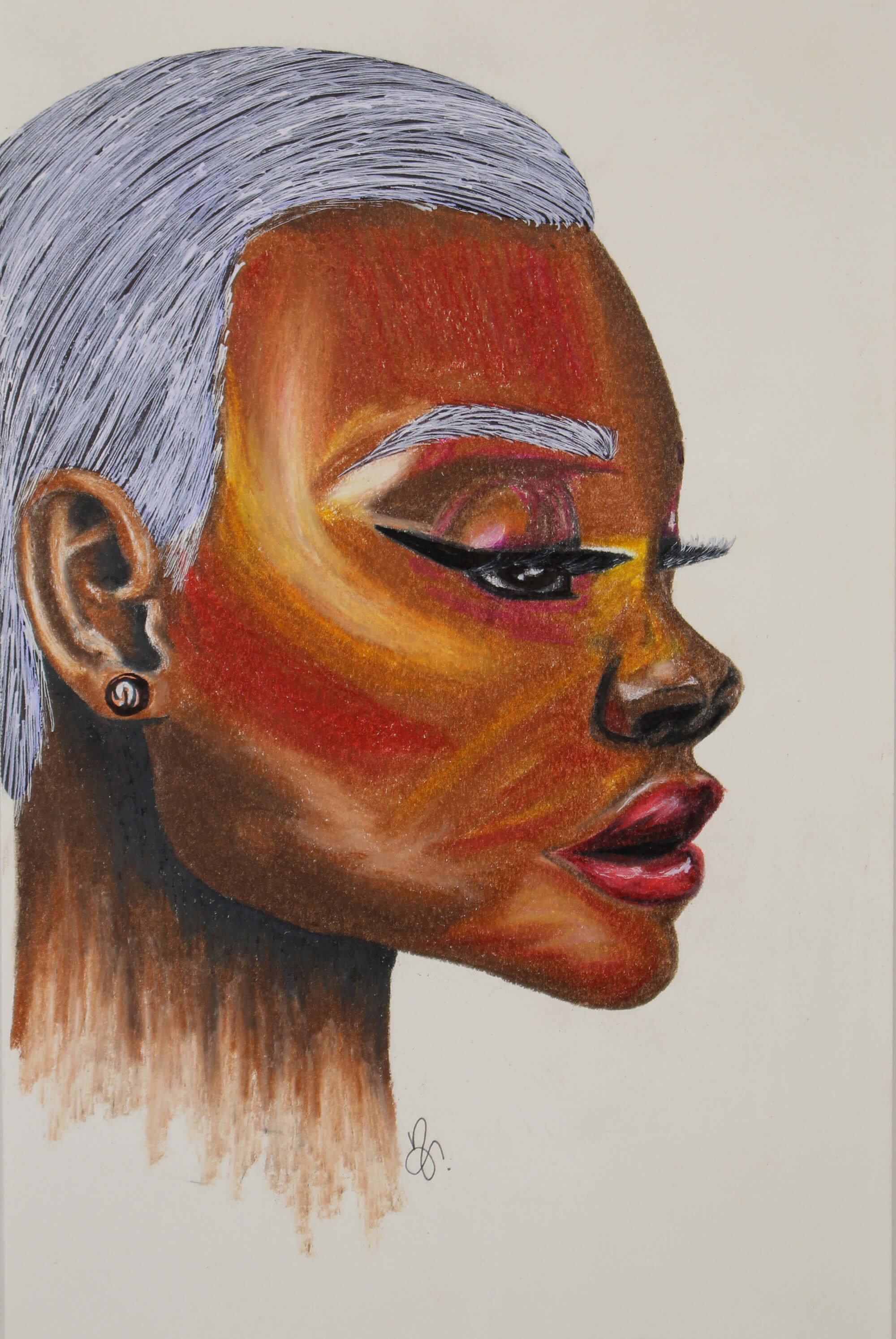 Prismacolor drawing of black woman head with white hair by Nichole Ortiz