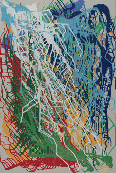 Acrylic painting of semiotic expressionism about obedience and nature by Kevo