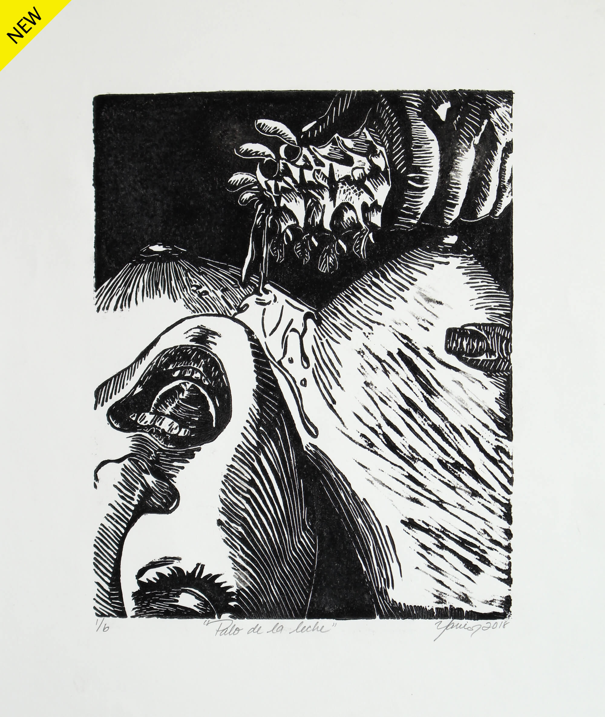Linocut print of a lustful woman laying face up while a hand holding a veggie stick pours a milky liquid on her naked breast by Yarie Vega