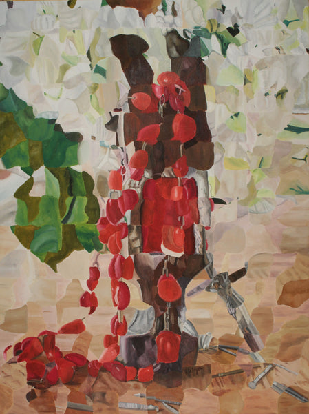 Abstract acrylic painting of red Rosary, nails and flowers by Evelyn Cardona