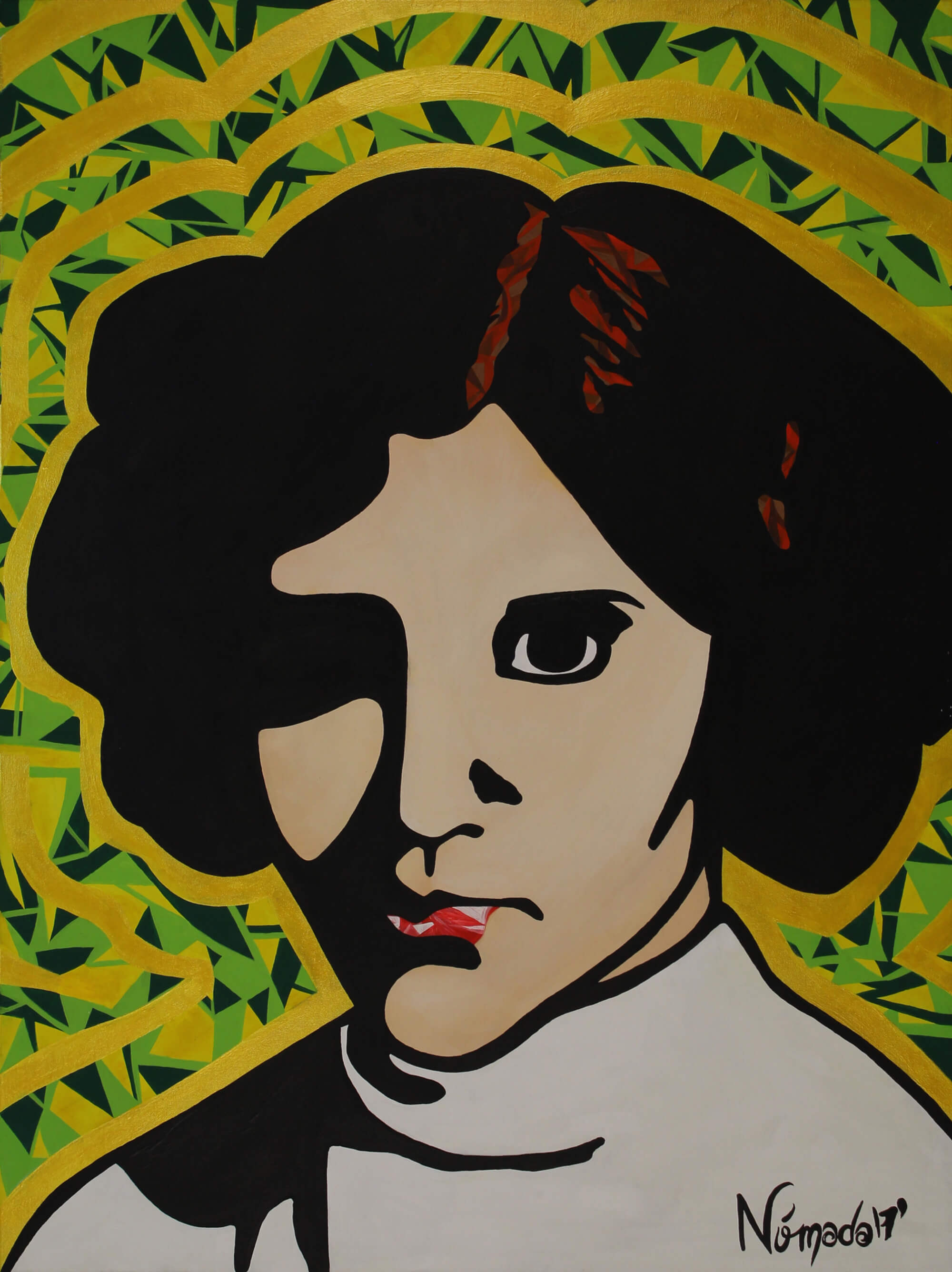 Acrylic painting of portrait of Princess Leia by Nómada