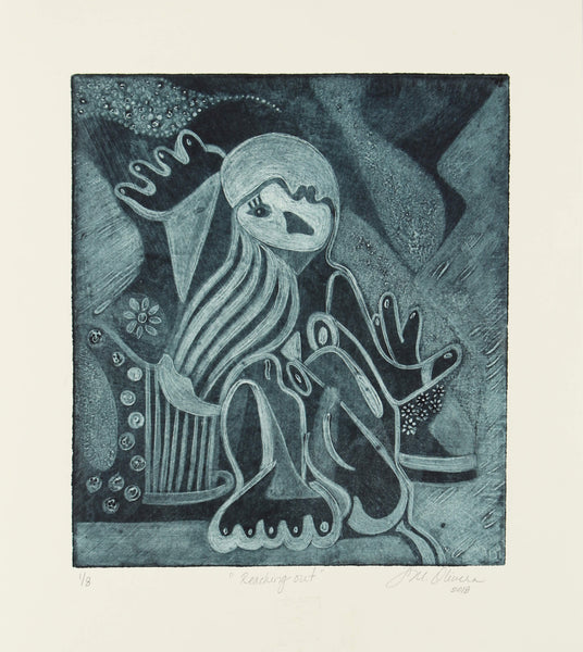 Cubism silk aquatint of breast cancer patient's mood  by Susan Olivera