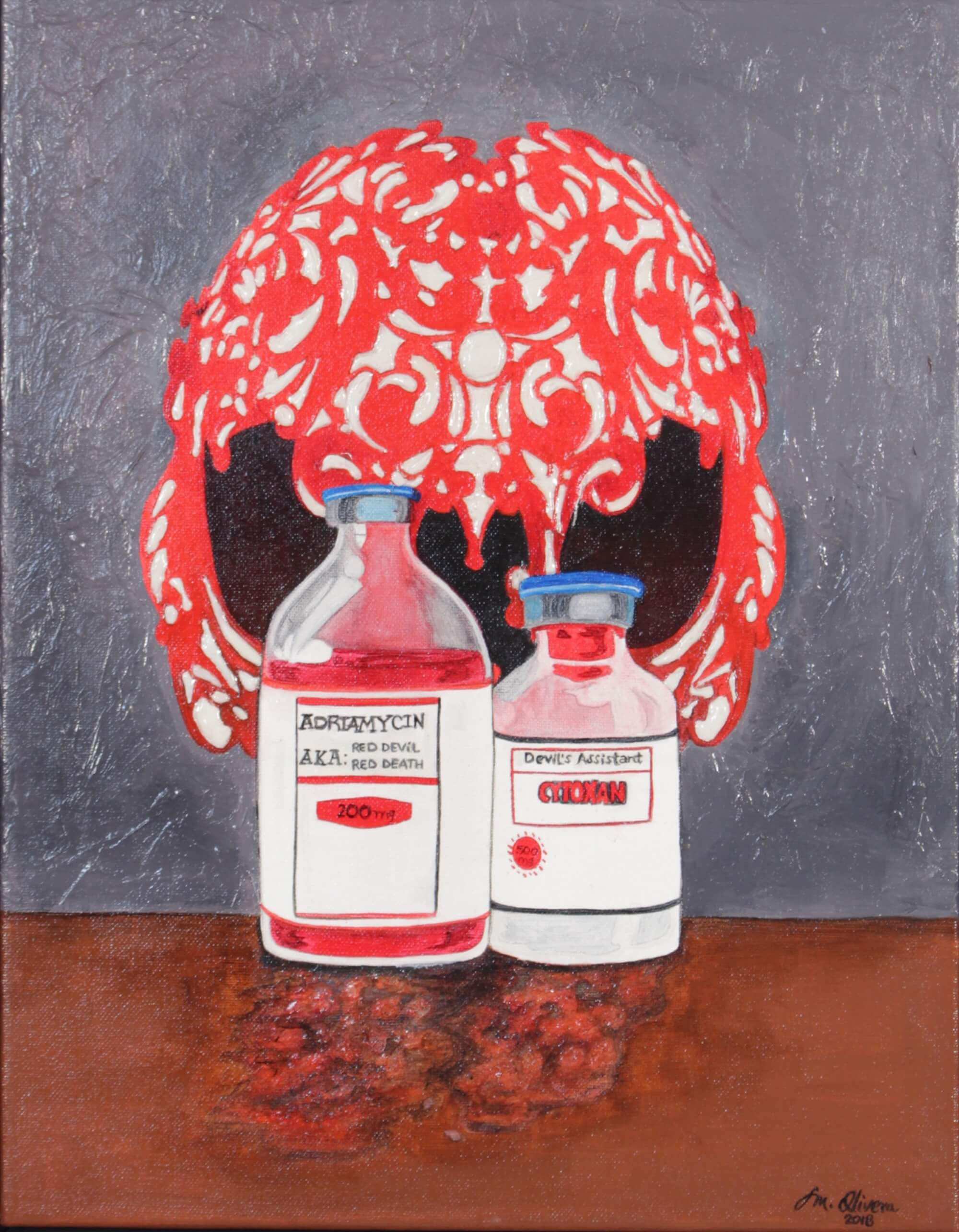 Acrylic painting depicting chemotherapy medication as a red devil by Susan Olivera
