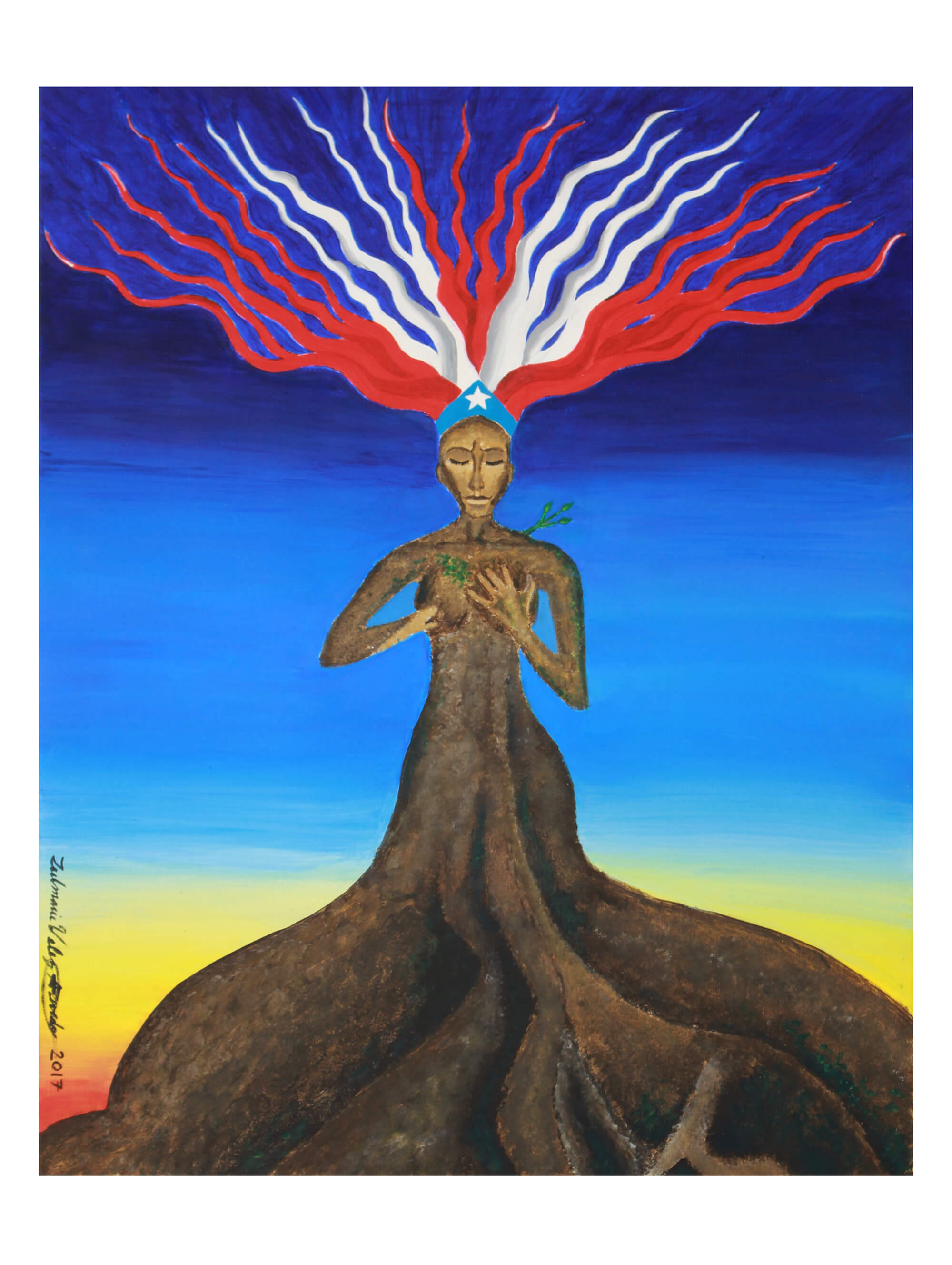 Print of reborn tree made of a woman torso with large exposed roots instead of legs, colorful electrified hair, vines growing from her chest and left shoulder by Zulmarie Vélez Acevedo