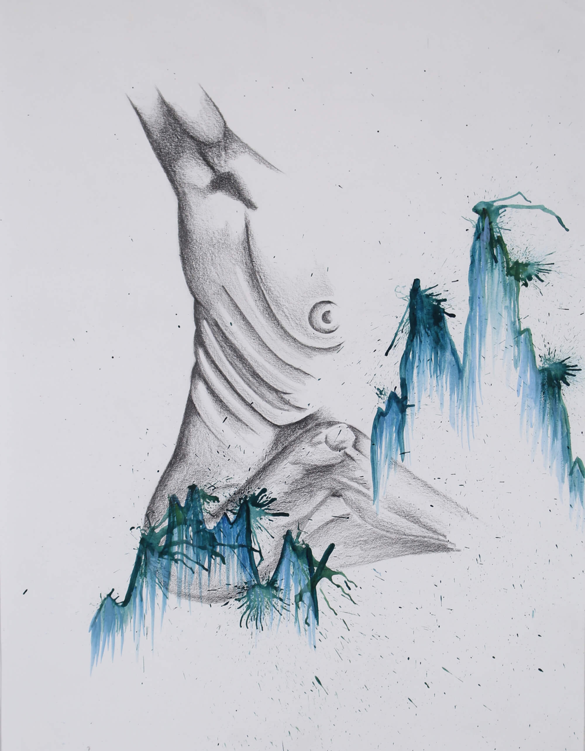 Graphite and watercolor drawing of naked human body rising up by Nichole Ortiz