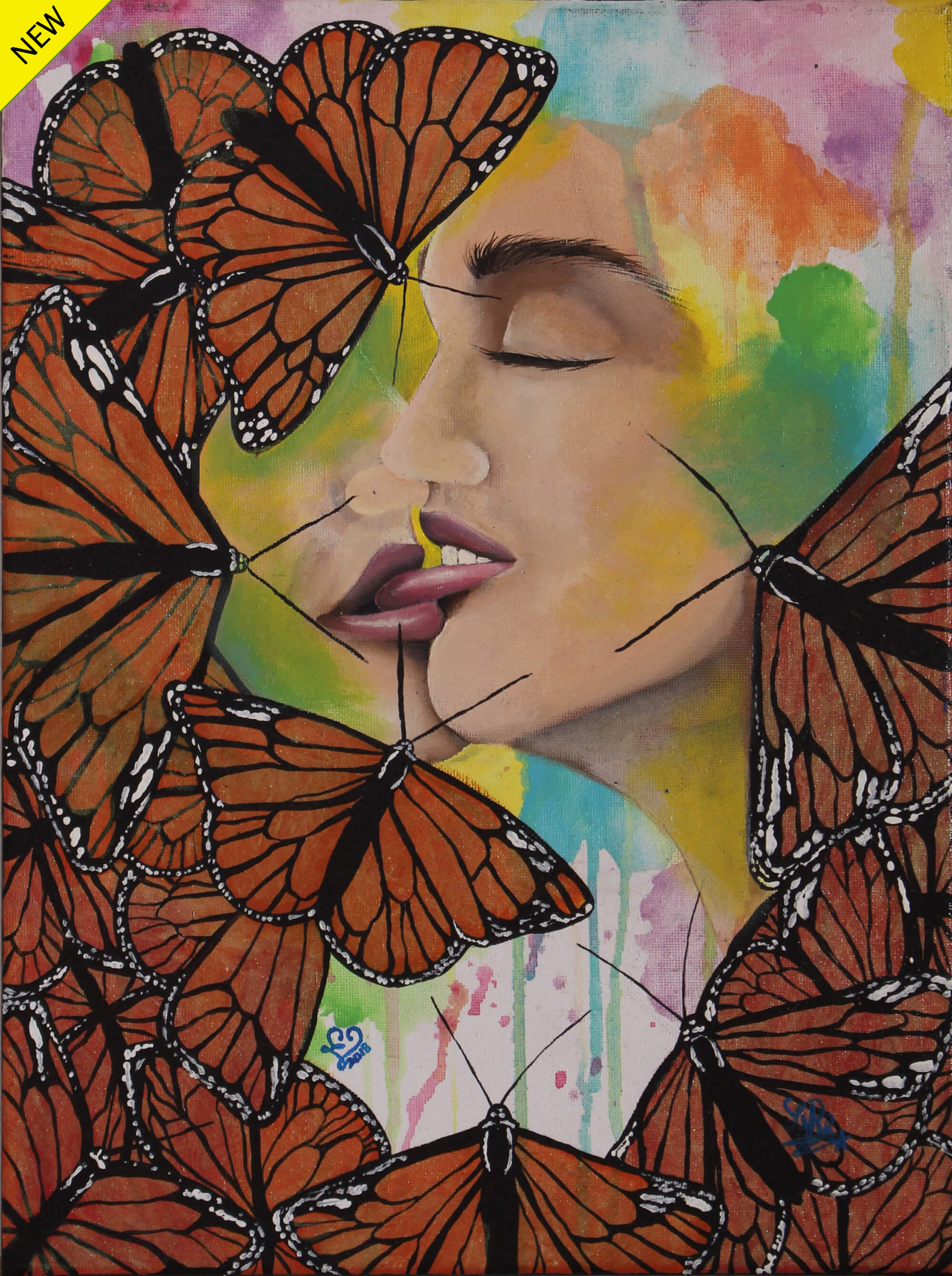 Painting of a french-kissing couple with their heads partially covered by Monarch butterflies in the foreground by Laurencia Victoria.