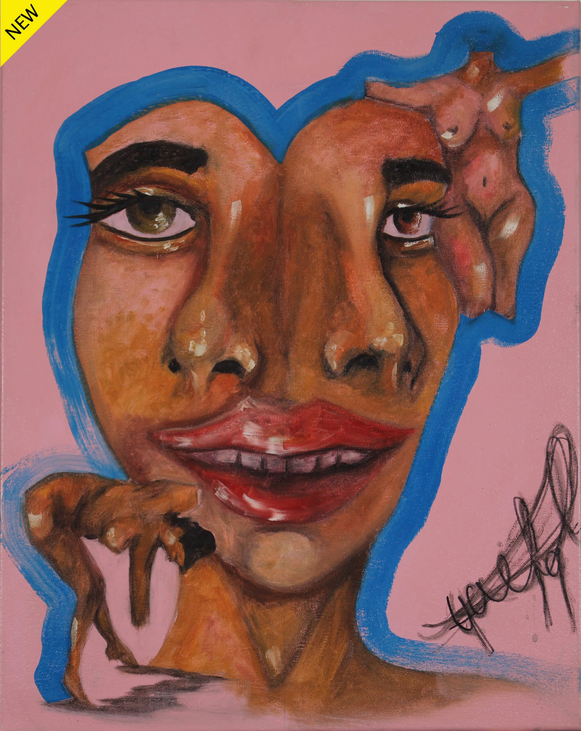 Acrylic painting of portrait of face conjoined twins with two noses and one mouth accompanied by two tiny naked females by Kyhan Yael.