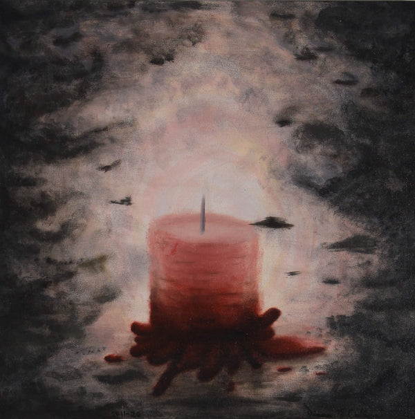 Painting of a pink candle illuminating a dark space by Diana N. Collazo Hernández