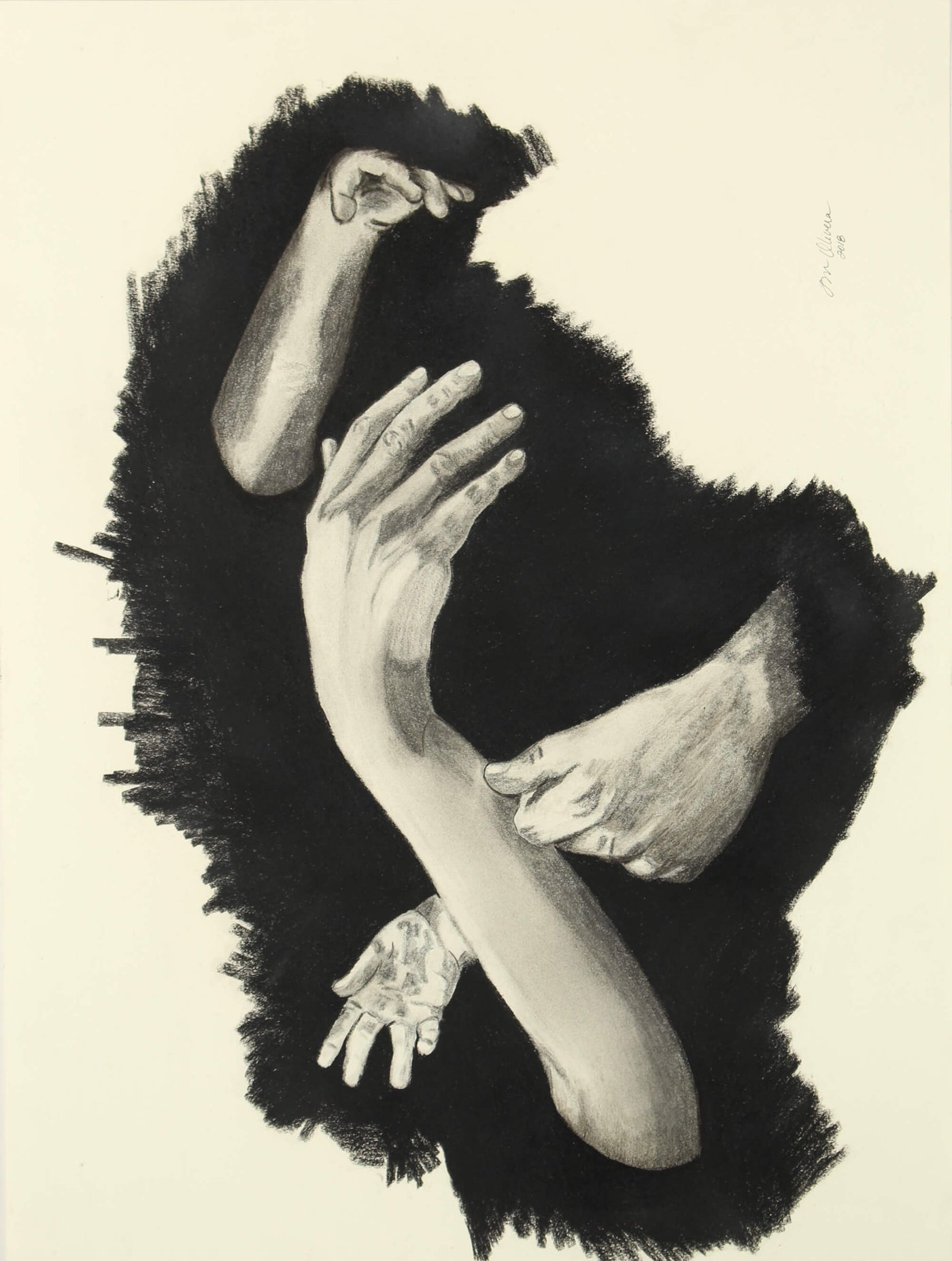Graphite and compressed carbon drawing of hands protruding from a black hole on a wall by Susan Olivera