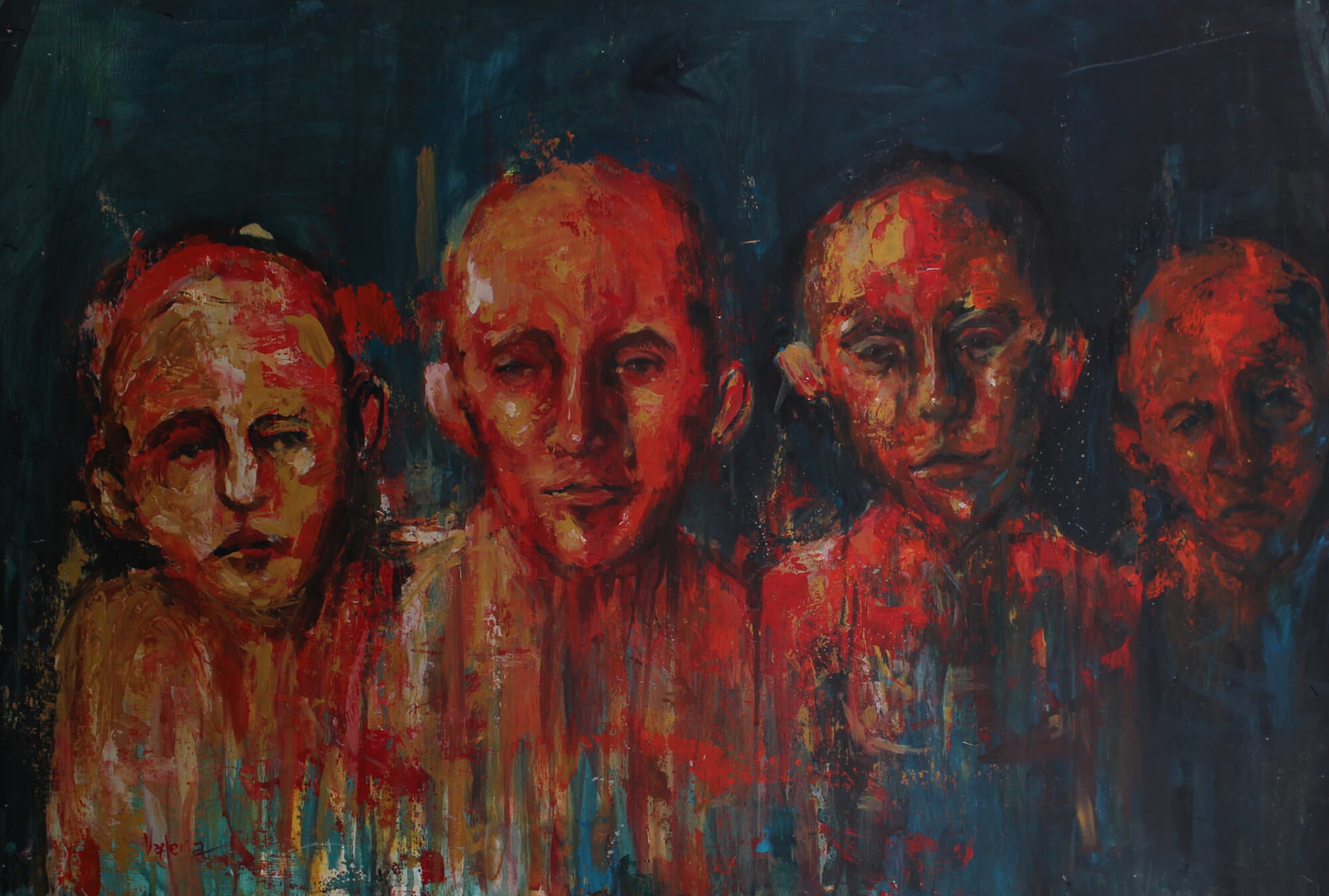 Surreal acrylic painting of four male high on drugs on a dark place by Valeria Mercado