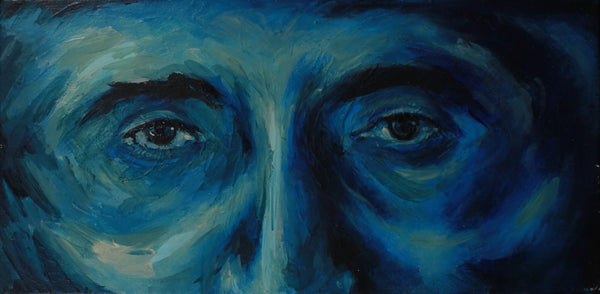 Surreal acrylic painting of the eyes of a blue man by Valeria Mercado
