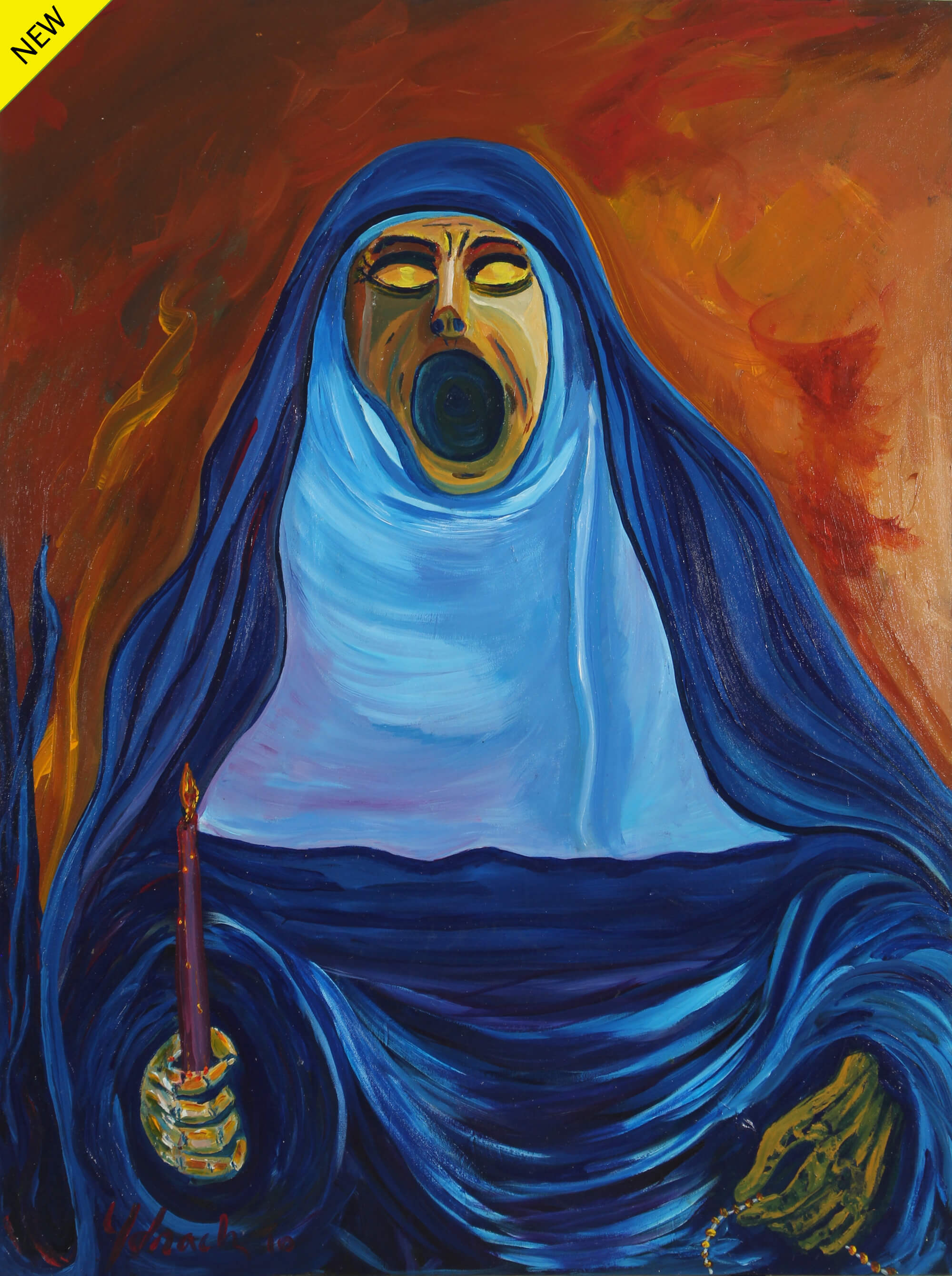 Acrylic painting of a nun on a blue chador type habit holding a purple candle on her right hand and her mouth wide open in a scream like Edvard Munch's The Scream by Vicente Ydrach.