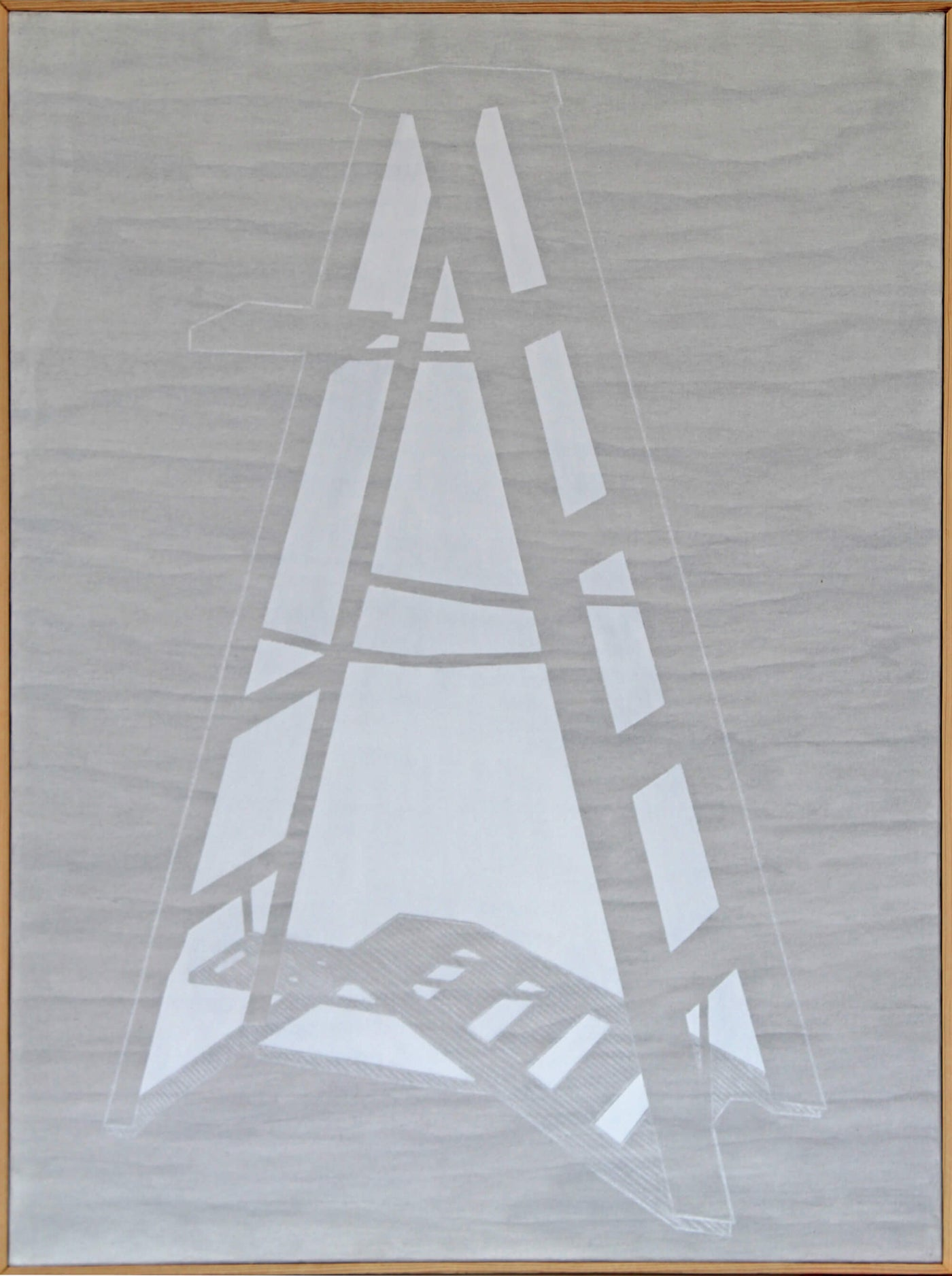 Acrylic and wax pencil painting of gray stepladder as metaphor of ascending by Ludwig Medina
