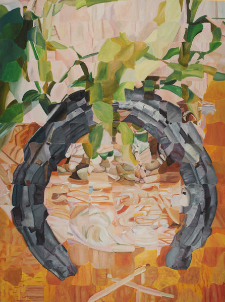 Abstract acrylic painting of horseshoe with living plants necklace as talisman by Evelyn Cardona