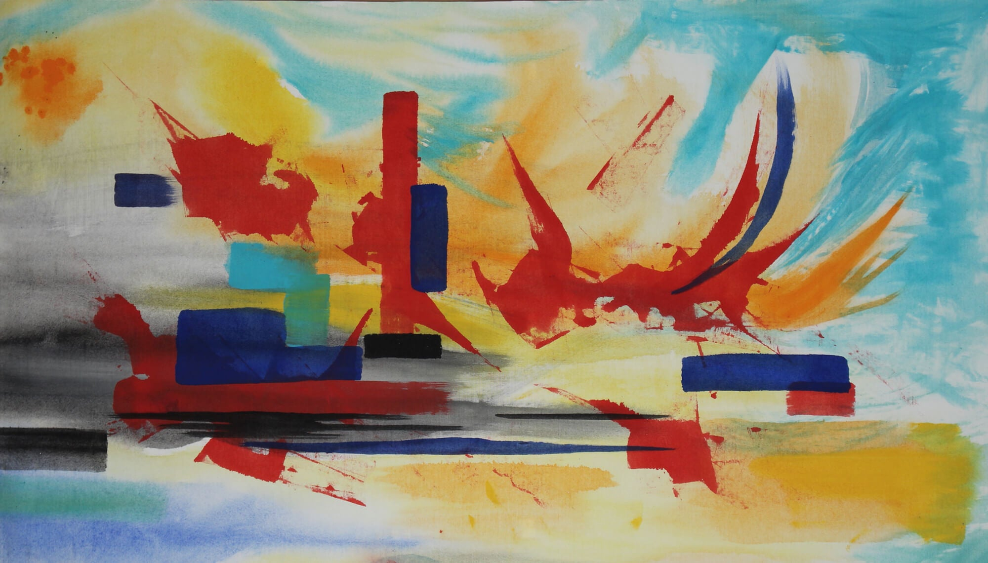 Acrylic painting of semiotic expressionism about obsolete cities by Kevo.