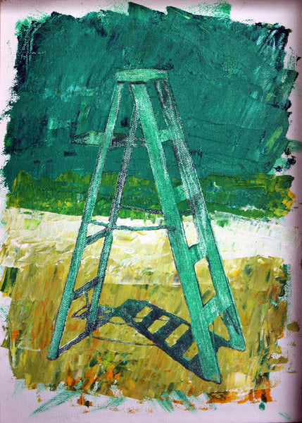 Acrylic and pencil painting of green stepladder with green background as metaphor of ascending by Ludwig Medina