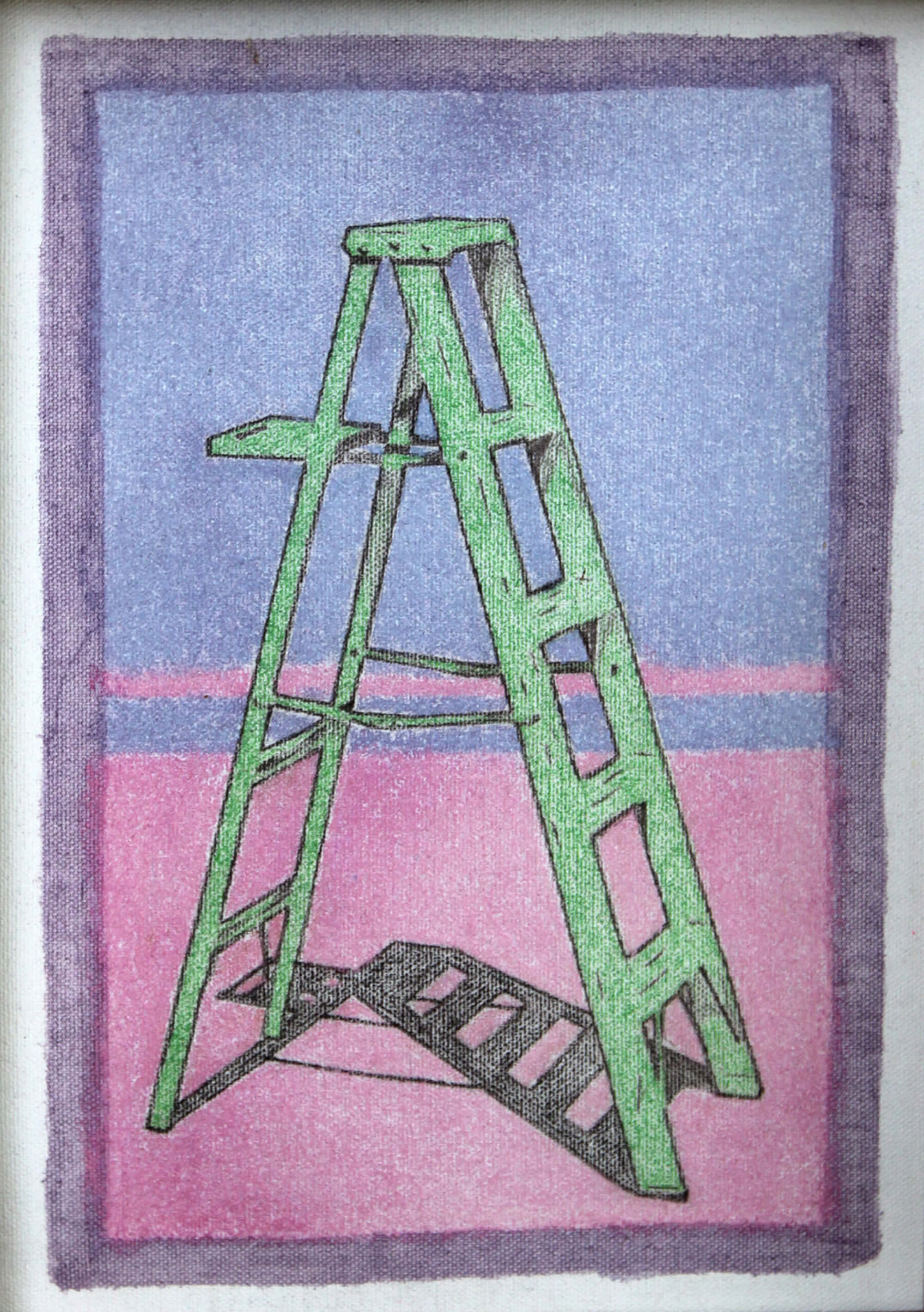 Chalk pastel and pencil painting of green stepladder with violet and purple background as metaphor of ascending by Ludwig Medina