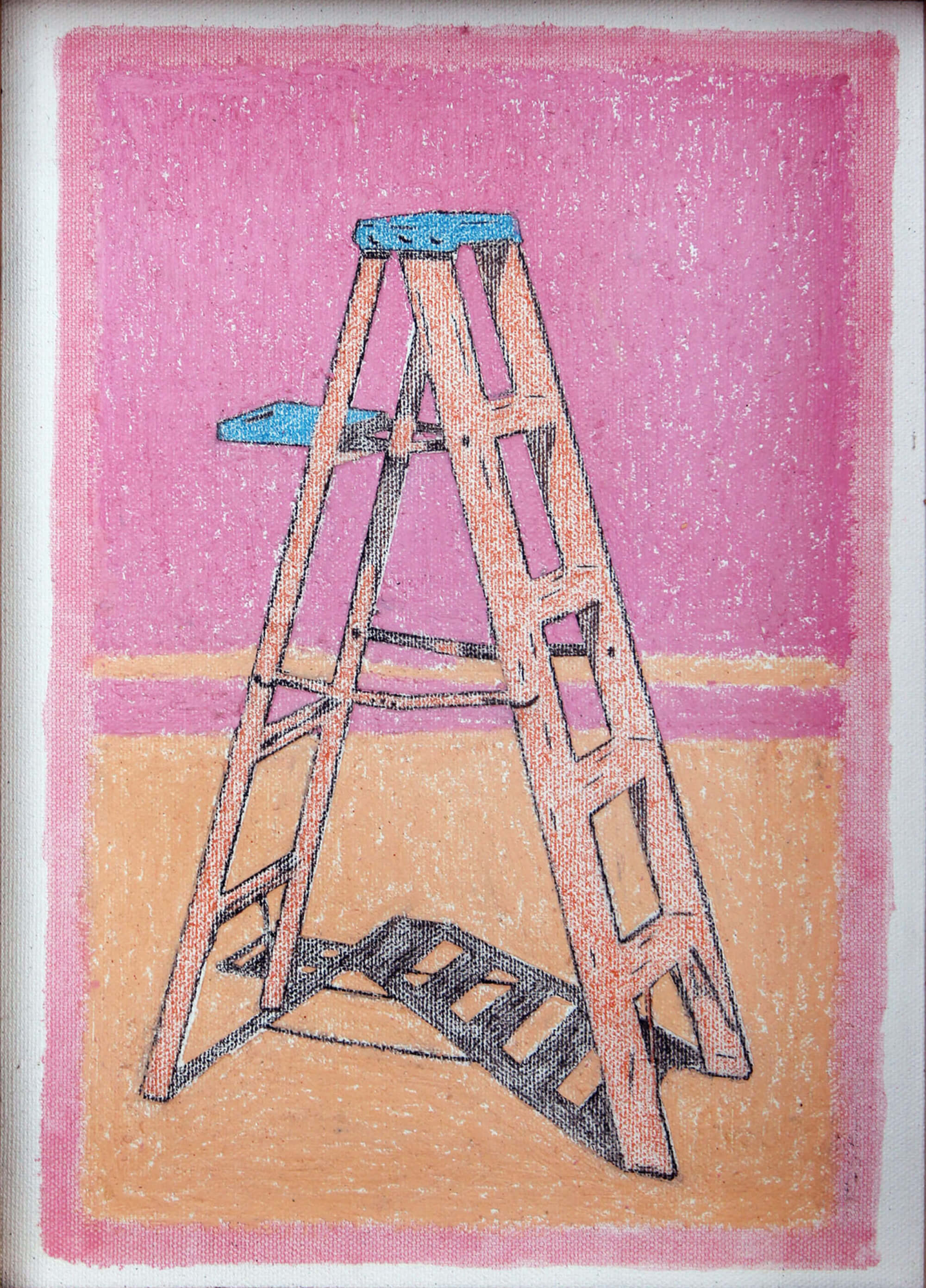 Oilbar and pencil painting of pink stepladder with pink background as metaphor of ascending by Ludwig Medina