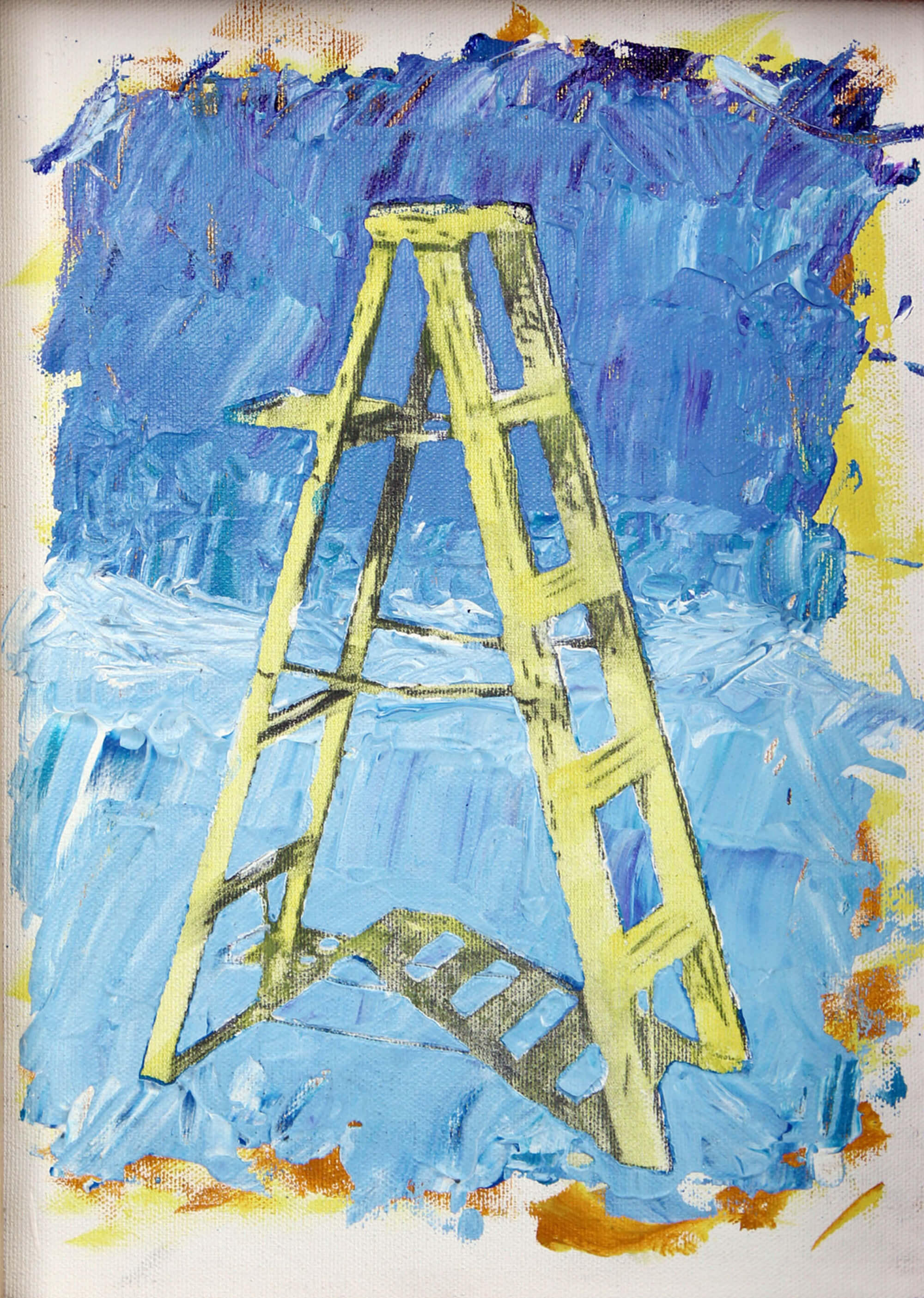 Acrylic and pencil painting of light green stepladder with blue background as metaphor of ascending by Ludwig Medina