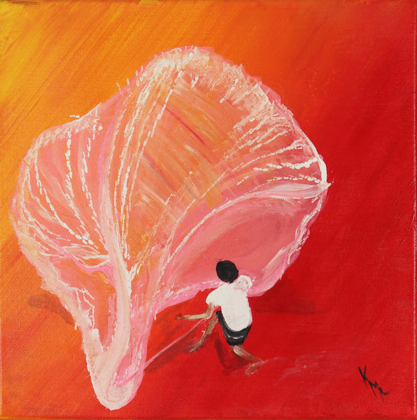 Acrylic painting of fisherman spreading a net on a red shore by Kevin Mejías