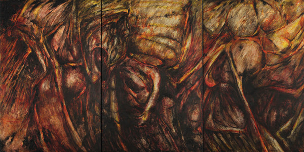 Encaustic painting about the transformation of the internal energy by Diógenes Ballester.
