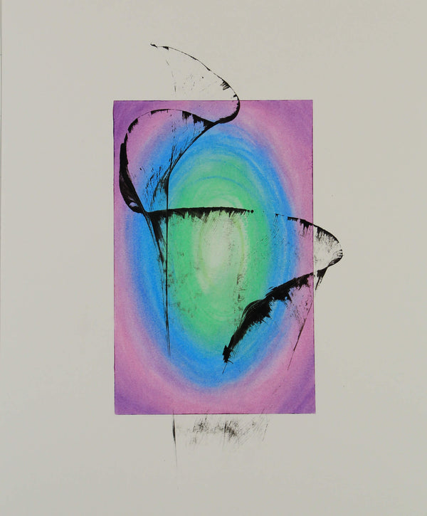 Abstract ink and oil pastel drawing of airborne net with sun on background by Kevin Mejías