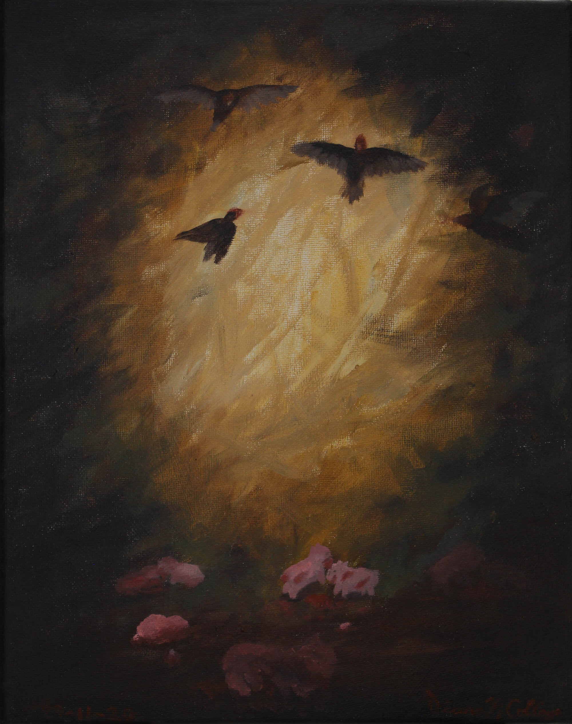 Painting of birds flying at an illuminated entrance of a dark cave where little red animals wander on the bottom representing a vigil by Diana N. Collazo Hernández