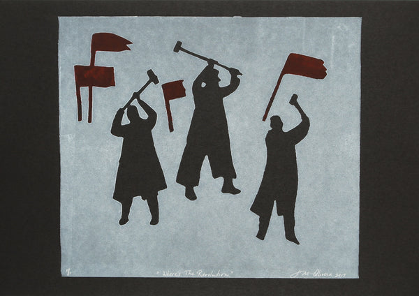 Monotype print of three people with mallet in hand looking for a revolution to join by Susan Olivera
