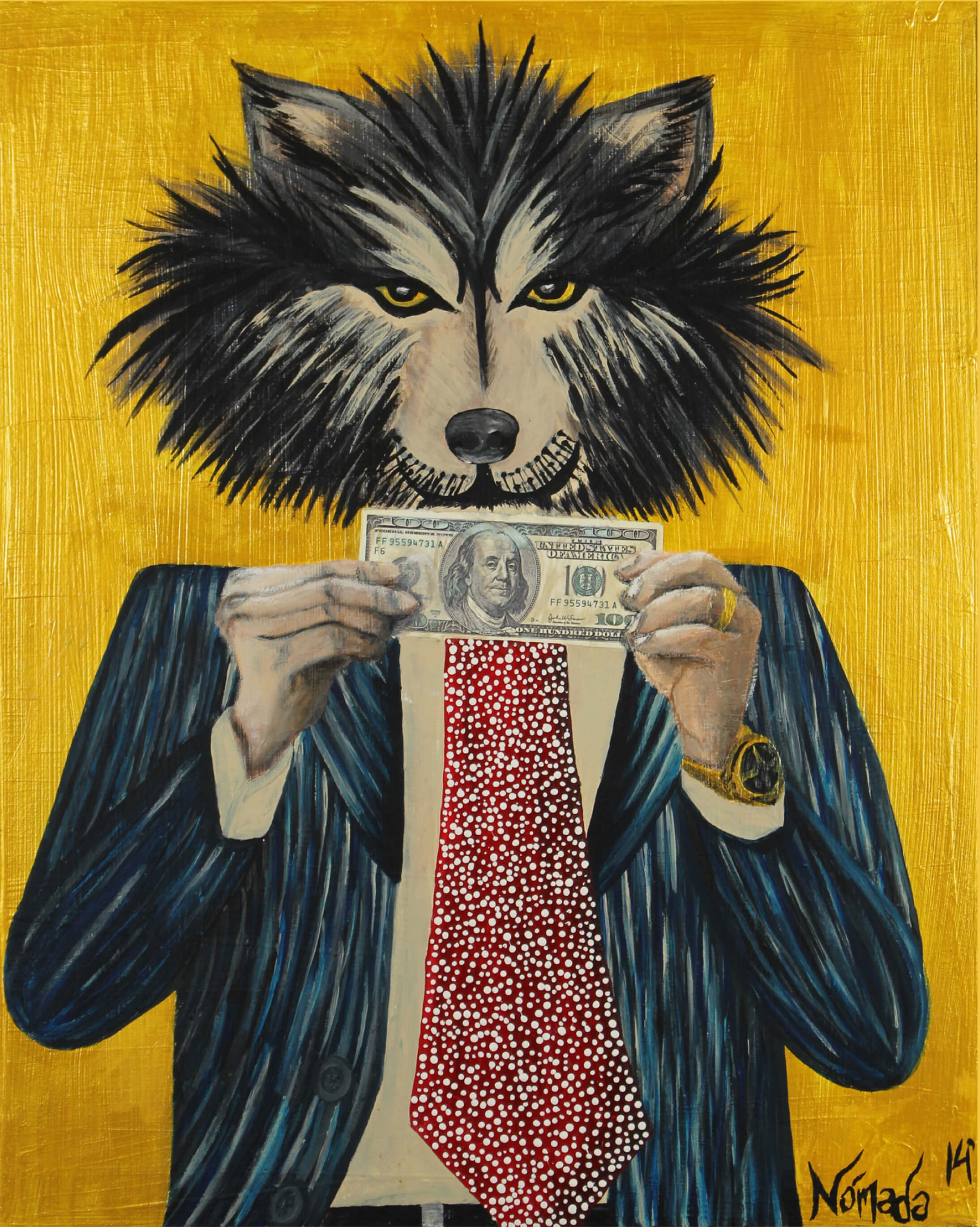 Print of wolf's upper body with business suit and tie holding a hundred dollar bill with two hands in front of his chest by Nómada