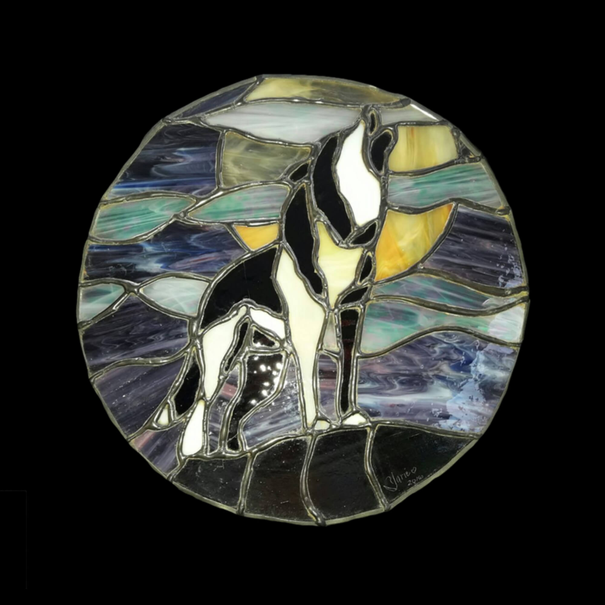 Abstract stained glass of wolf on top of hill under full moon by Yarie Vega