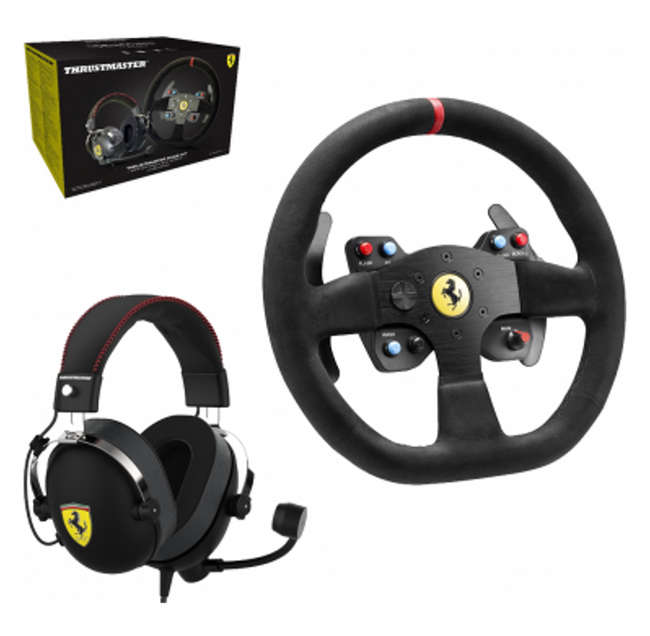 Thrustmaster FERRARI ALCANTARA Race Kit - 599XX EVO Wheel + T Racing FERRARI ALCANTARA Headset Bundle