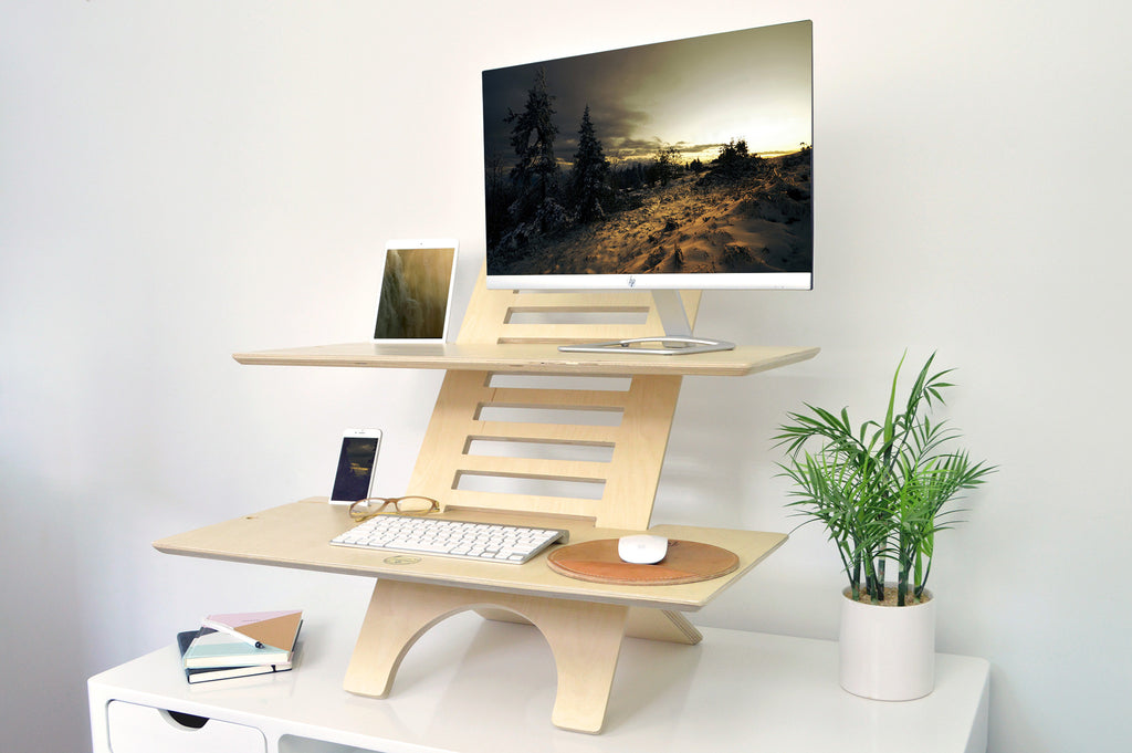image of jumbo deskstand sit to stand standing desk converter with monitor tablet support - Standing Desk Converter
