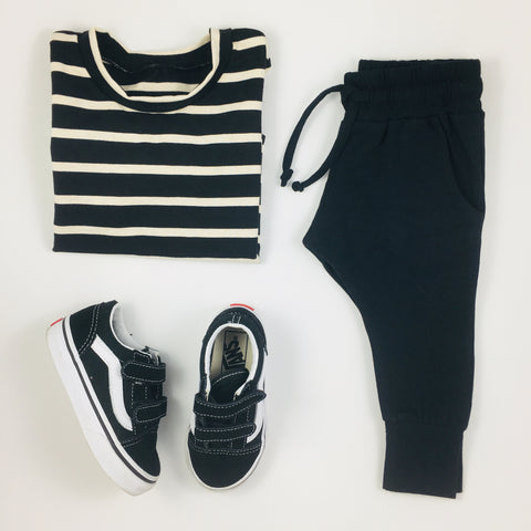Wylo and Co Stripe Tee with Mingo Black Joggers