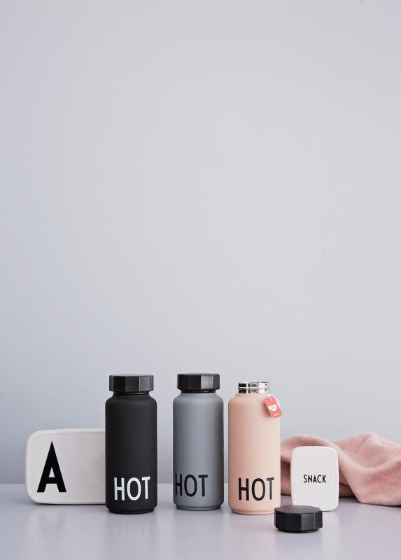Design Letters, baby Thermo/Insulated Bottle Large, HOT & COOL Grey - when we wear young