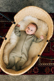 mebie baby, baby Desert Sage Ribbed Footed Sleeper - when we wear young