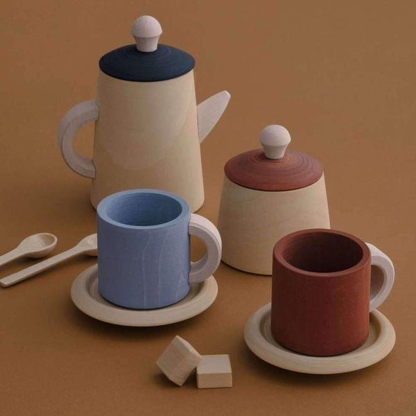 Raduga Grez, baby Tea Set in Terracotta and Blue - when we wear young