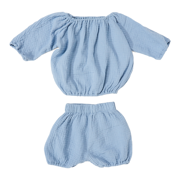 daily brat, baby Dusty Blue Bloomer Set - when we wear young