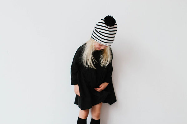 Striped Pom Pom Hat - House of Jamie -when we wear young