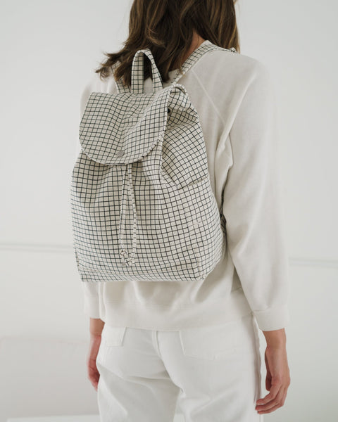 baggu, baby Drawstring Canvas Grid Backpack - when we wear young