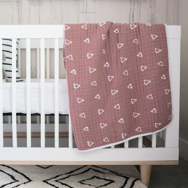 mebie baby, baby Blush Triangle Muslin Quilt - when we wear young