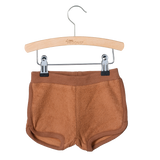 Little Hedonist, baby Mocha Terrycloth Shorts - when we wear young