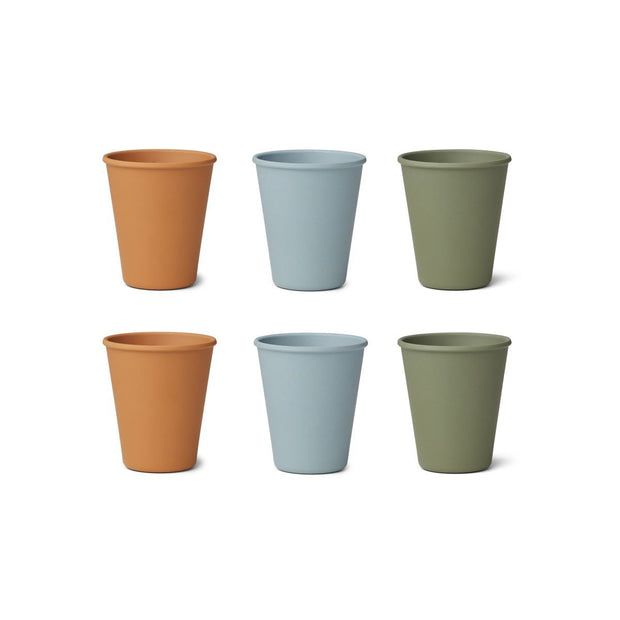 Blue Mix Bamboo Cups-6 pack