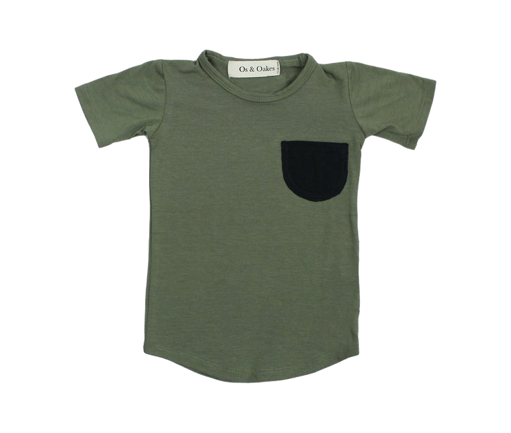 Os & Oakes, baby Olive Pocket Tee - when we wear young
