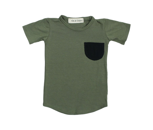 Olive Pocket Tee - Os & Oakes -when we wear young