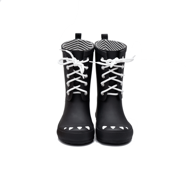 Black Lace Up Rain Boot - boxbo -when we wear young