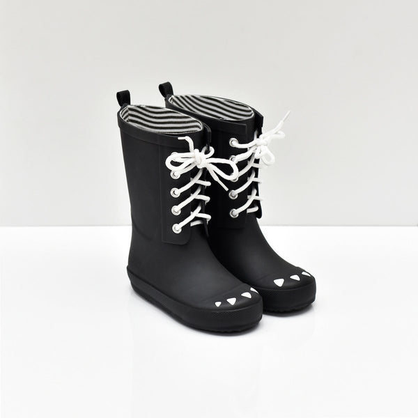 boxbo, baby Black Lace Up Rain Boot - when we wear young