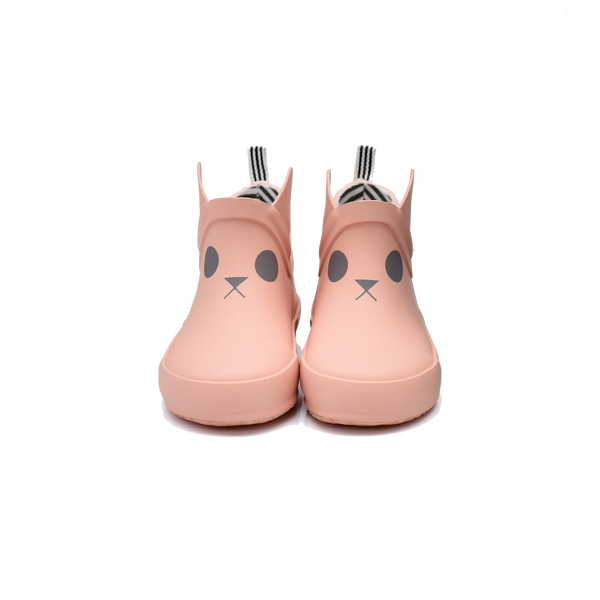 boxbo, baby Pink Rabbit Short Rain Boot - when we wear young