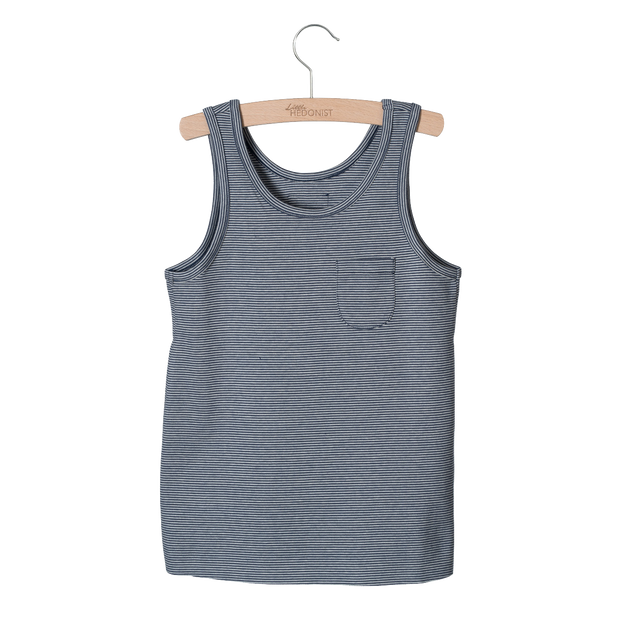 Little Hedonist, baby Navy Striped Tank-LAST SIZE! 4/5T - when we wear young