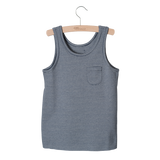 Little Hedonist, baby Navy Raw Edge Tank - when we wear young