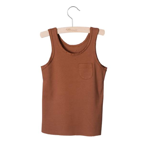 Little Hedonist, baby Mocha Raw Edge Tank - when we wear young